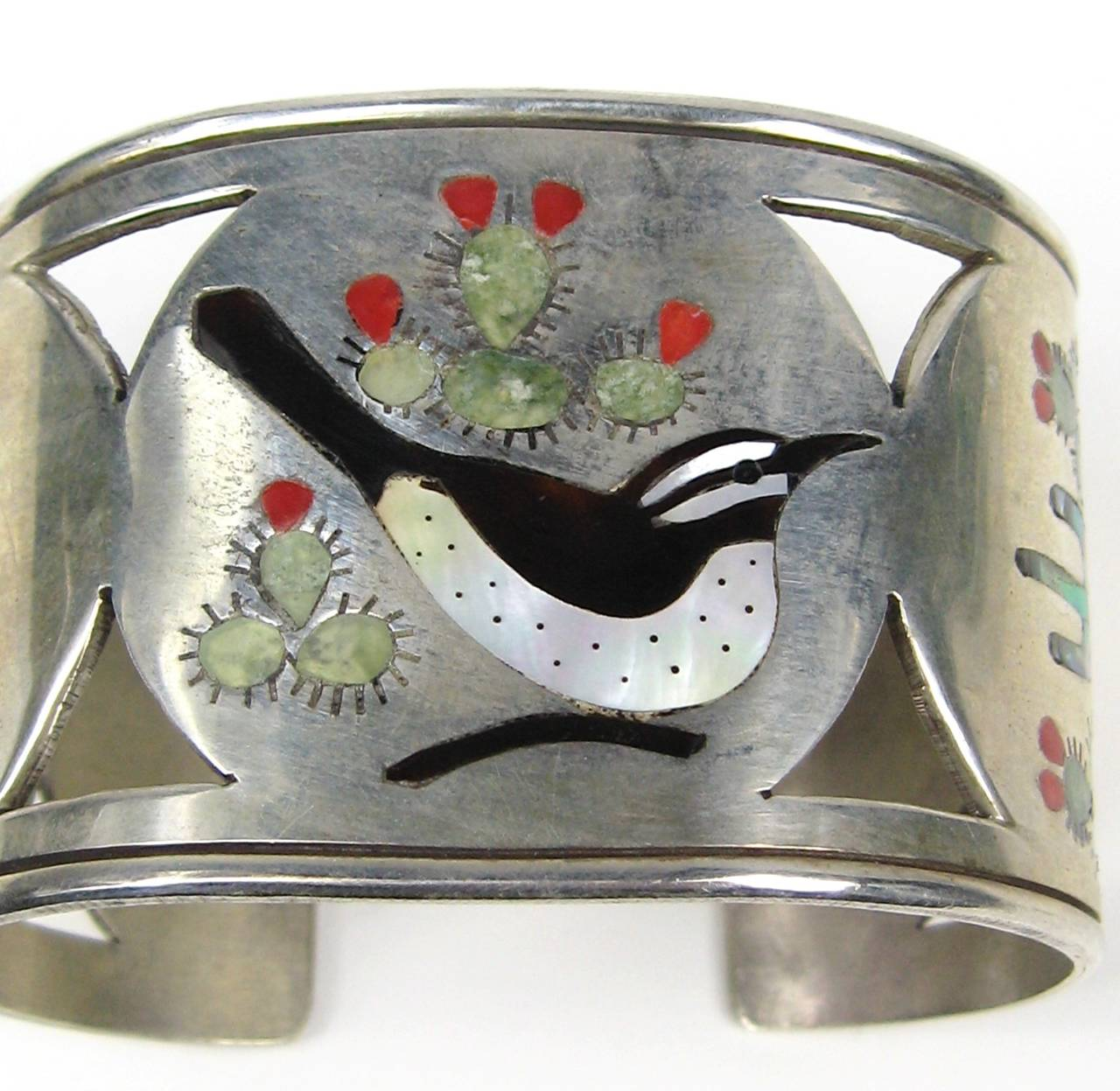 Zuni Sterling Silver Cut Out Bird Cactus Coral Mother of pearl Wide cuff 3