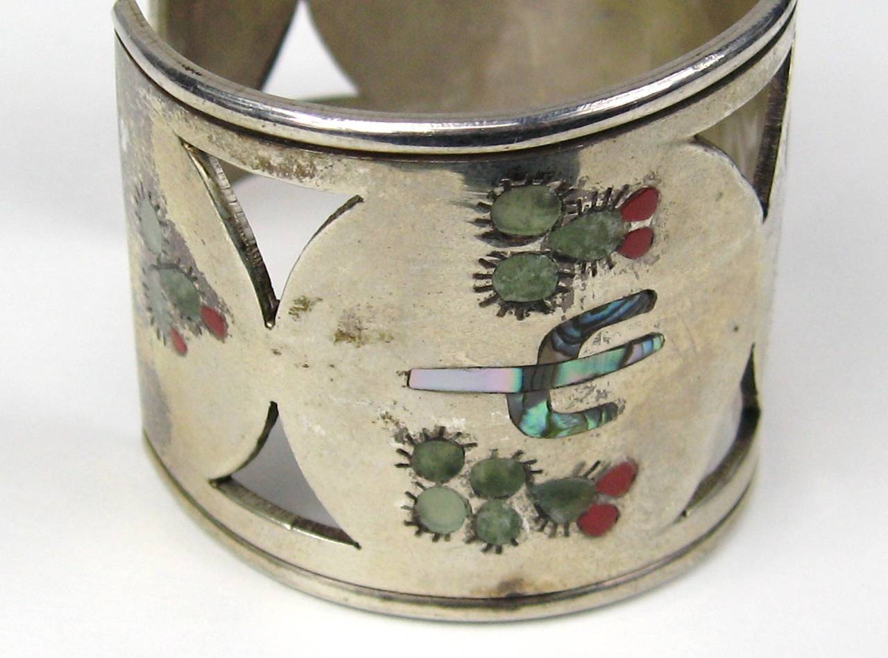 Zuni Sterling Silver Cut Out Bird Cactus Coral Mother of pearl Wide cuff 2