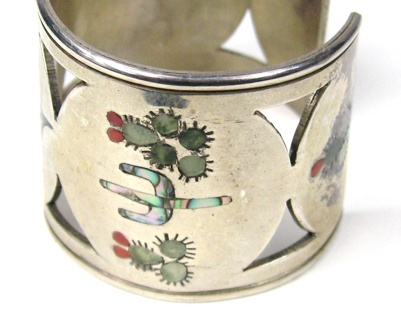 Zuni Sterling Silver Cut Out Bird Cactus Coral Mother of pearl Wide cuff 4