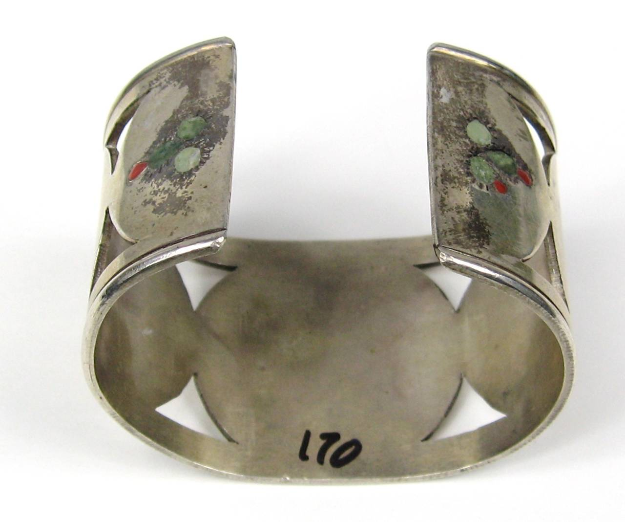 Zuni Sterling Silver Cut Out Bird Cactus Coral Mother of pearl Wide cuff 5
