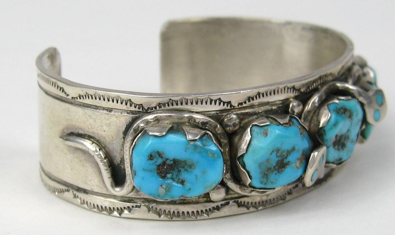 Early Effie C Zuni Sterling Silver Snake Turquoise Cuff Bracelet In Excellent Condition For