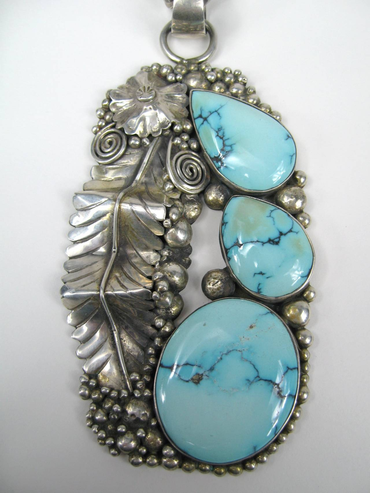 Native American Navajo Turquoise Sterling Necklace 2