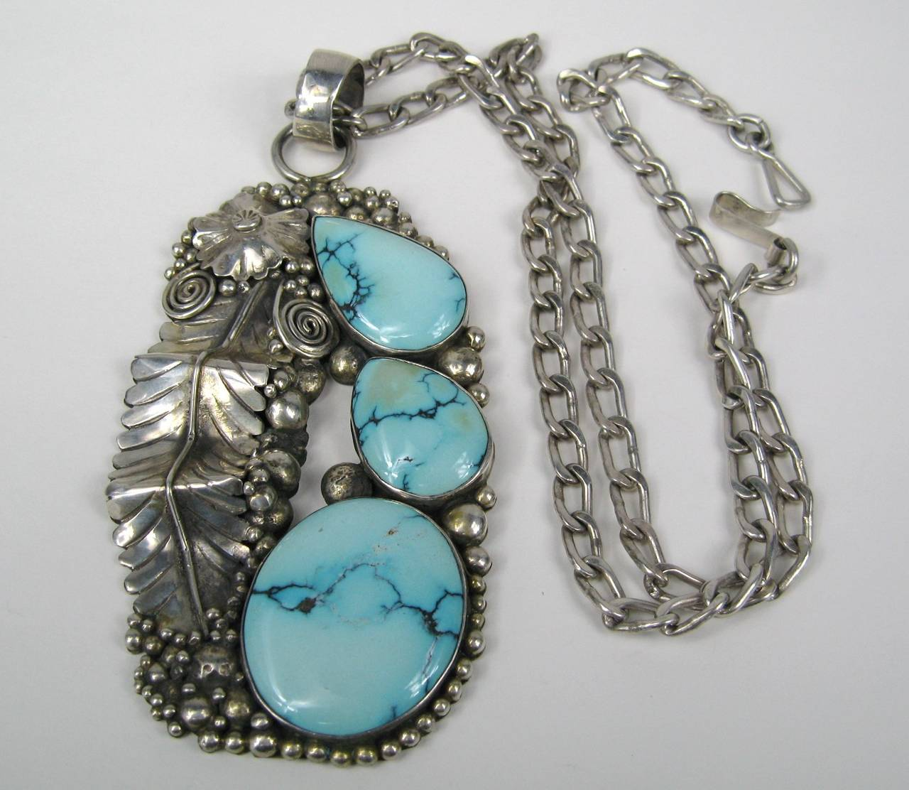 Native American Navajo Turquoise Sterling Necklace 3