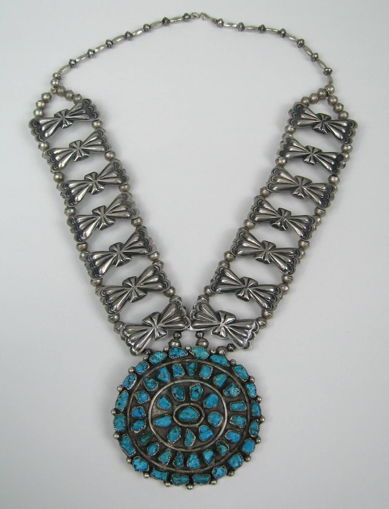 Sterling Pawn Butterfly link Squash Blossom Turquoise Necklace 2
