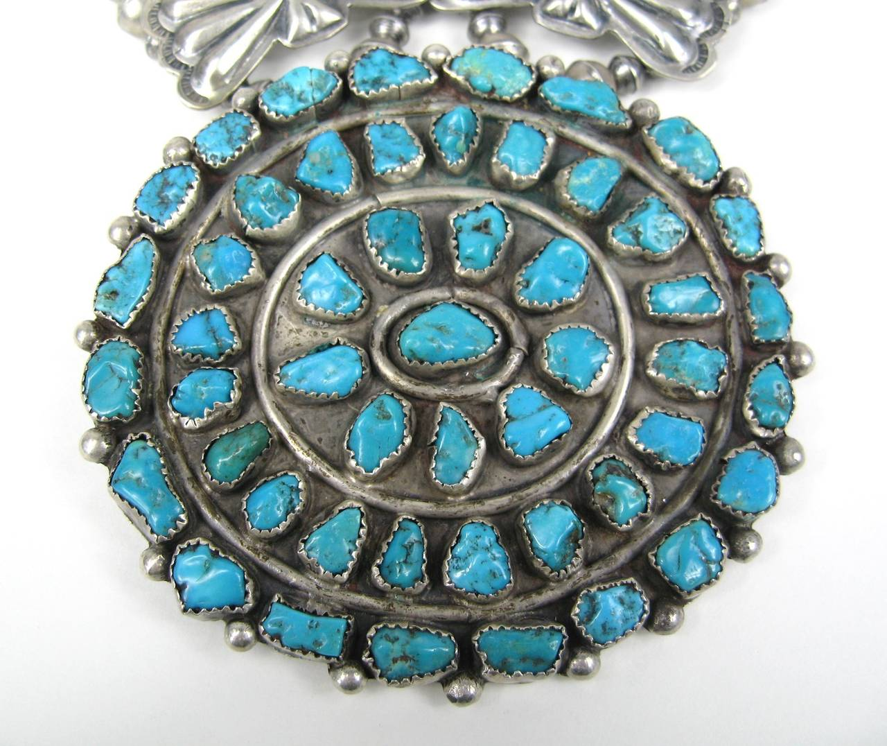 Sterling Pawn Butterfly link Squash Blossom Turquoise Necklace 3