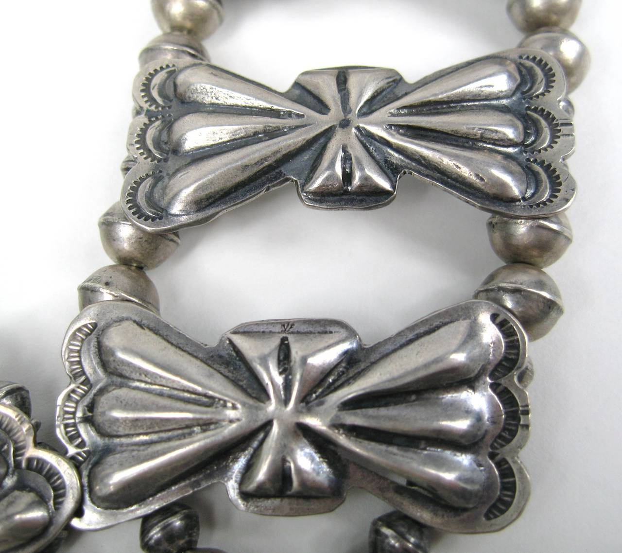 Sterling Pawn Butterfly link Squash Blossom Turquoise Necklace 4