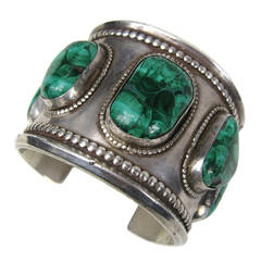 1950's Navajo Southwestern Sterling Malachite Massive Cuff Bracelet