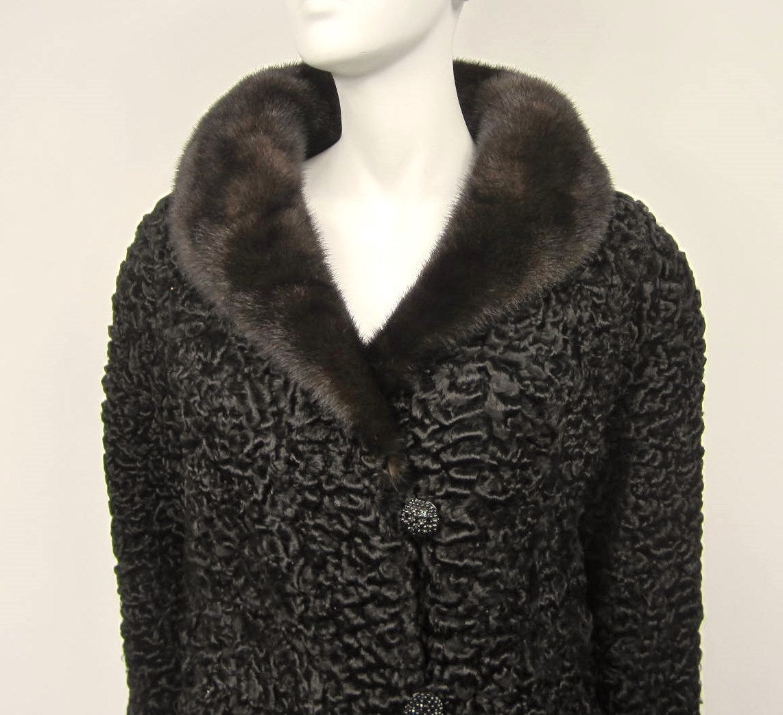 Vintage Chloe Persian Lamb Coat with Mink Fur Collar Jacket For ...
