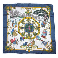 Hermes silk scarf joies d'hiver Ice Skating Never worn