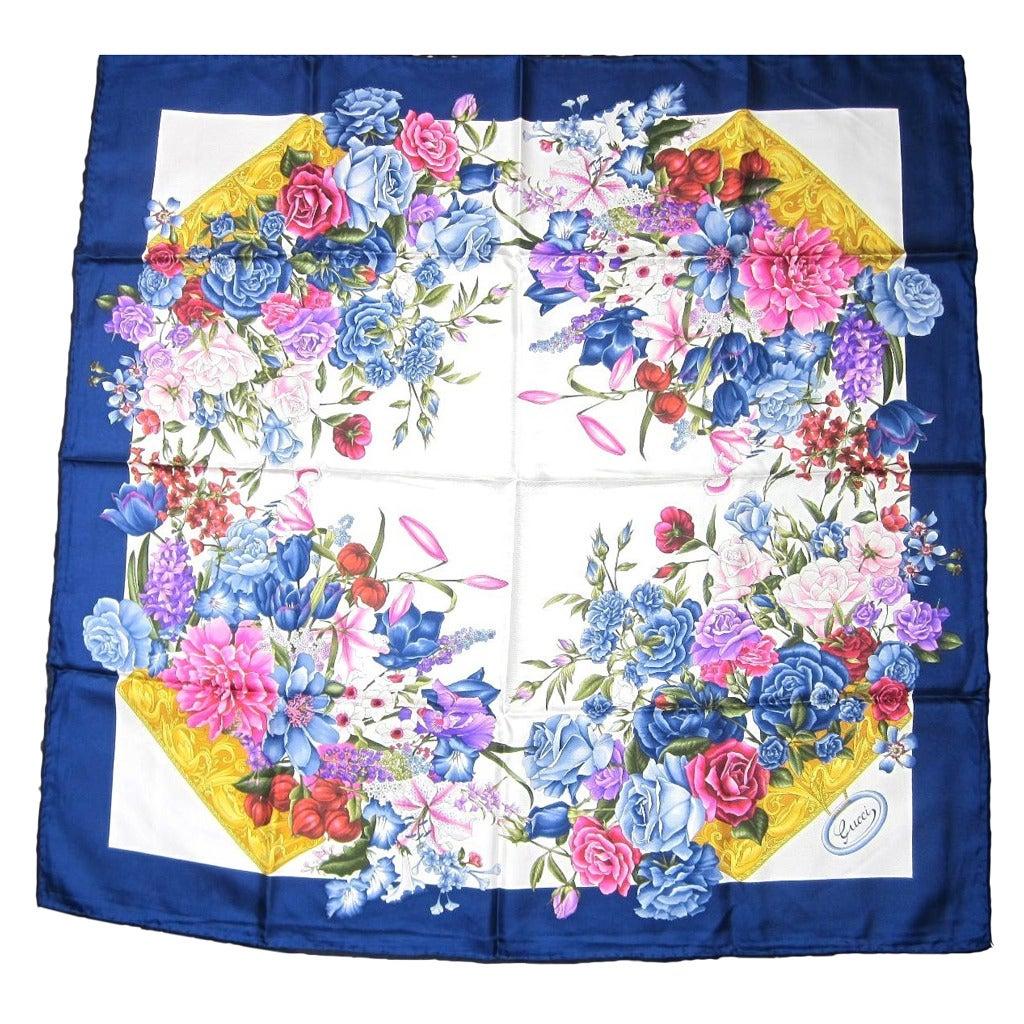 "Gucci Blue Silk Scarf  ""Flora"" Burst of flowers Never worn 1"