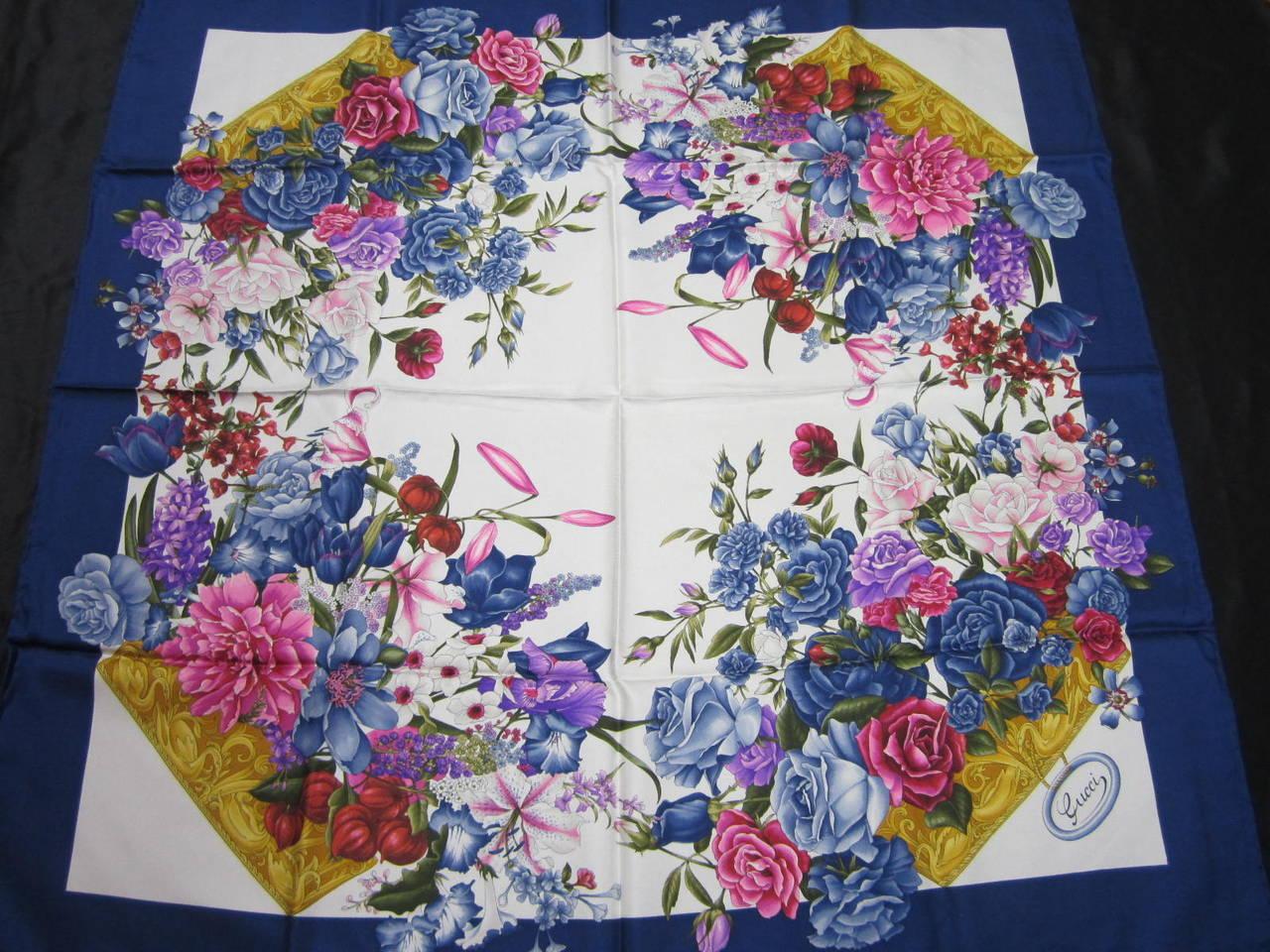 "Gucci Blue Silk Scarf  ""Flora"" Burst of flowers Never worn 2"