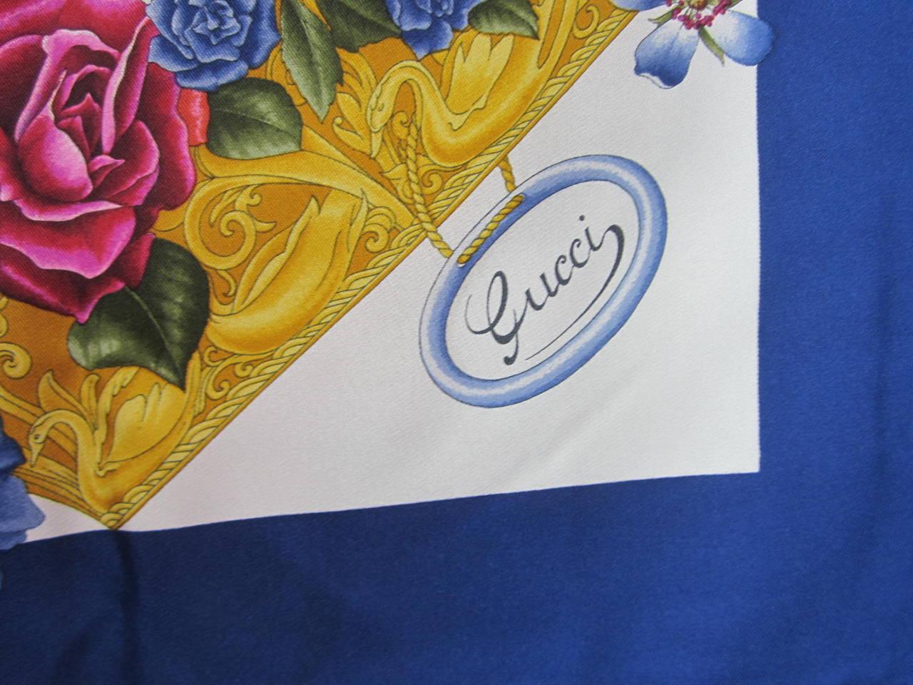 "Gucci Blue Silk Scarf  ""Flora"" Burst of flowers Never worn 4"