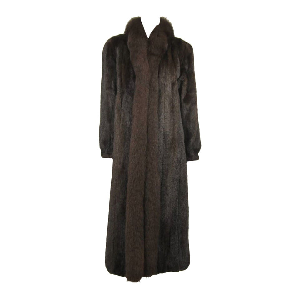 Ranch Mink Fur with Fox Collar and Trim Full length Coat ...
