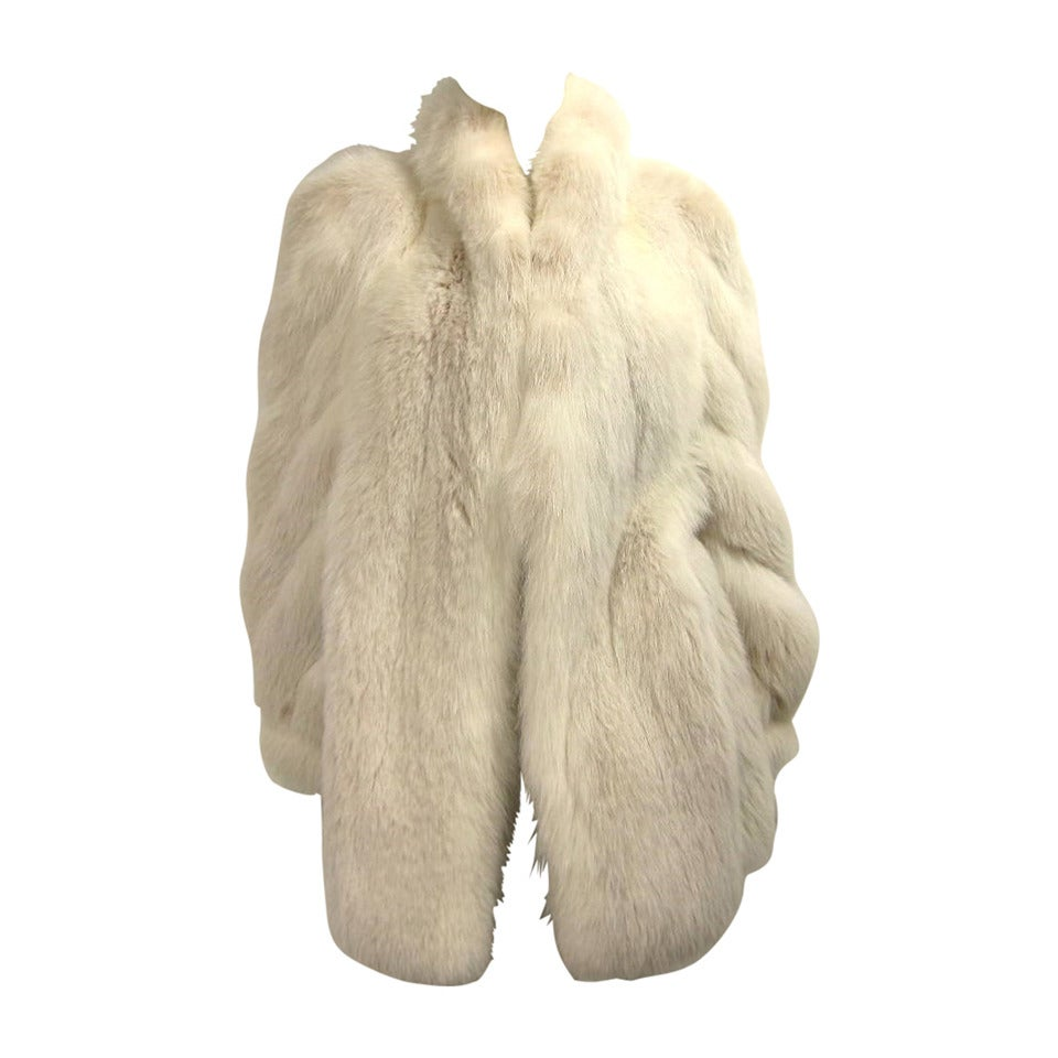 Over sized White Fox Fur Jacket Swirl Sleeves 1