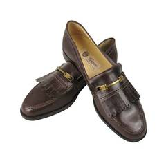 1970s Brown Gucci Fringed Loafer Shoes Never Worn