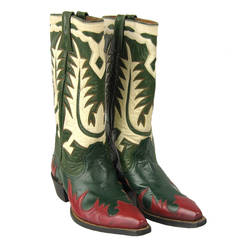 1950s Hand made Green Red White Leather Cowboy Boots