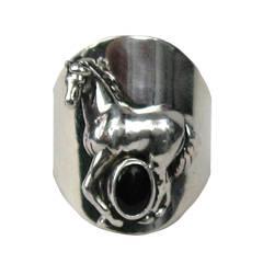 Carol Felley Sterling SIlver Horse Amethyst Ring