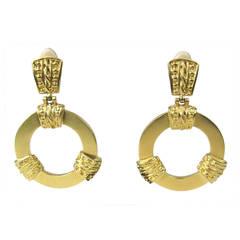 1980s Ugo CORREANI ITALY Gold Gilt Massive Earrings Never worn