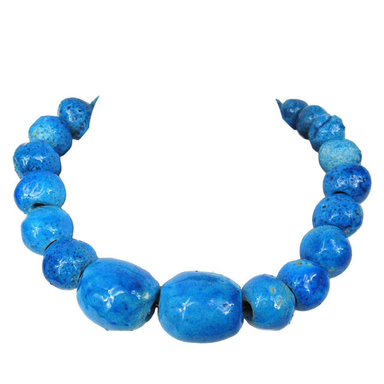 Oversized Ceramic Porcelain Blue Bead Necklace 1