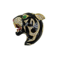 Ciner swarovski Crystal Black Panther Brooch Never Worn 1980s