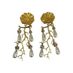 Massive 1990s Philippe Ferrandis Chandiler Barqoue Pearl Earrings New Never Worn
