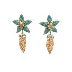 Massive Barrera Starfish Shell Dangle Earrings Real Shells