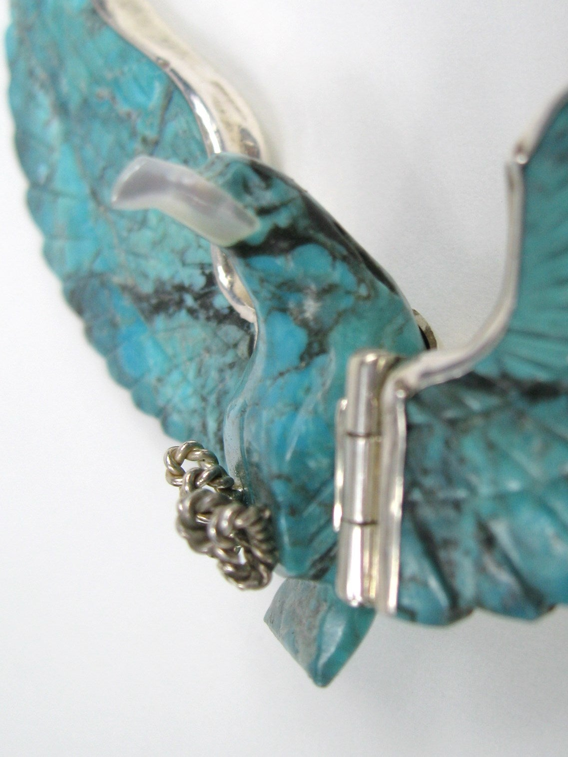 Navajo Sterling Silver Flying Eagle Necklace Pendant Tribal Turquoise 3