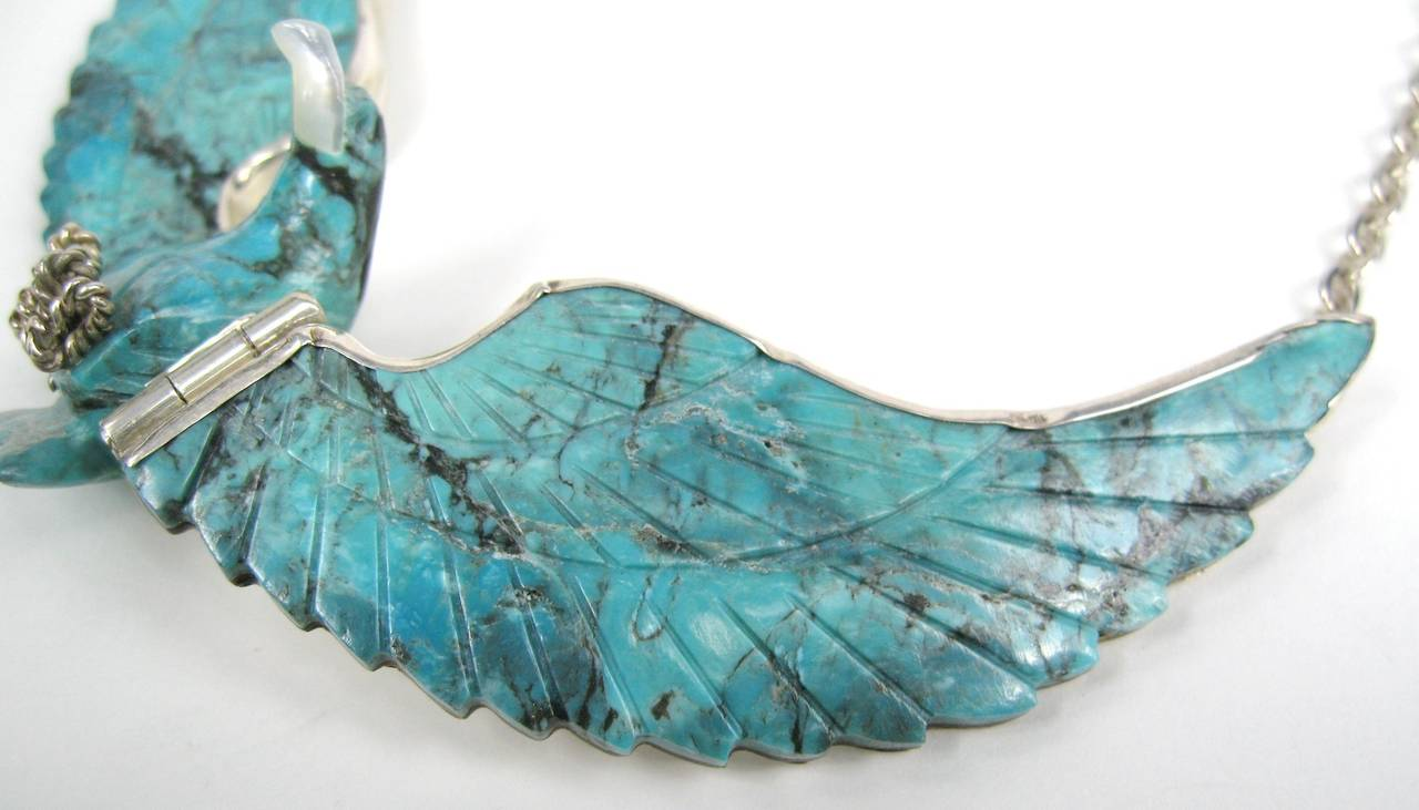 Navajo Sterling Silver Flying Eagle Necklace Pendant Tribal Turquoise 4