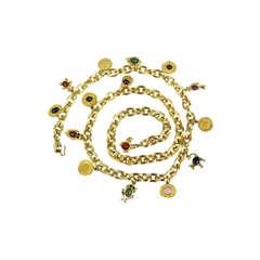 1980s JUDITH LEIBER Semi Precious Stone Charm Belt never worn