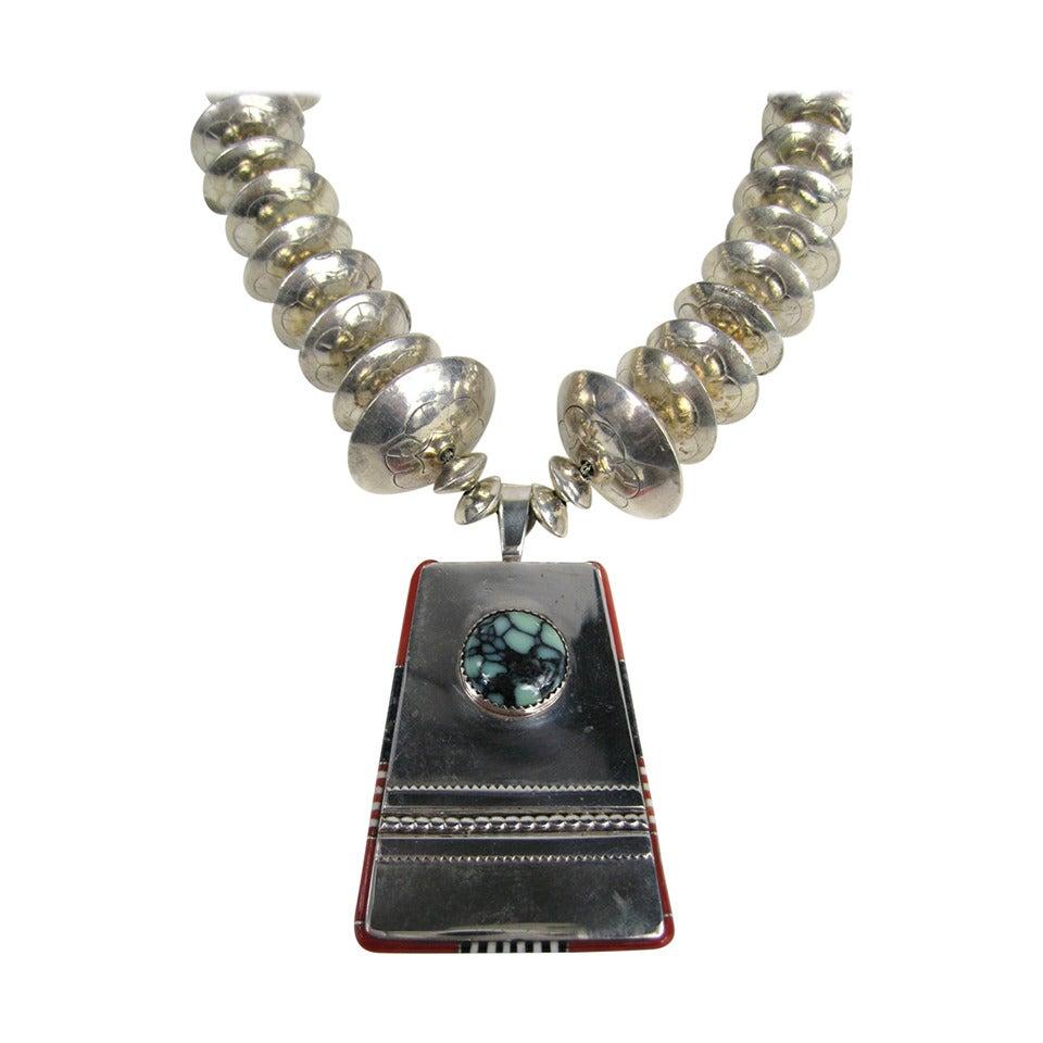 Jim Harrison Spider Web Turquoise Navajo Pendant Necklace
