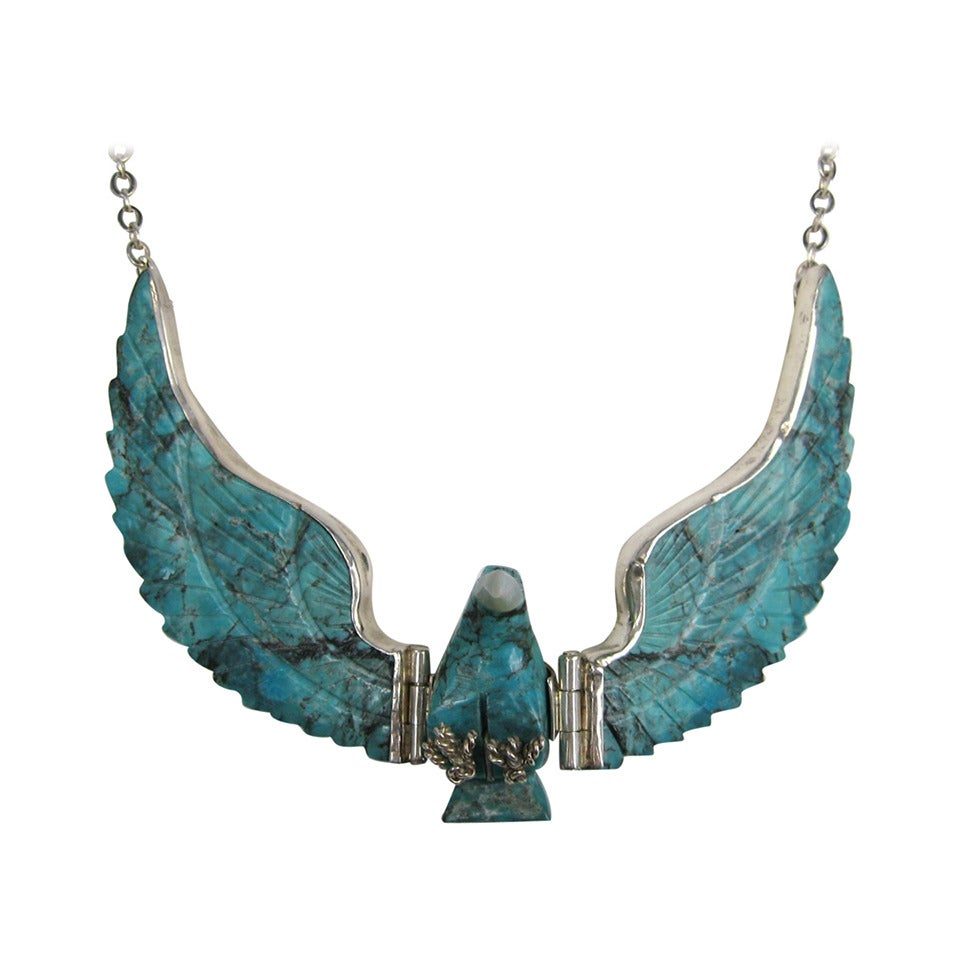 Navajo Sterling Silver Flying Turquoise Eagle Necklace