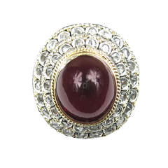 Antique 18K Gold Cabochon Garnet Ring w/ Mine Cut Diamonds