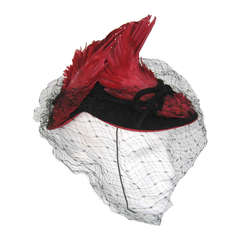 1930s red feathered veil hat
