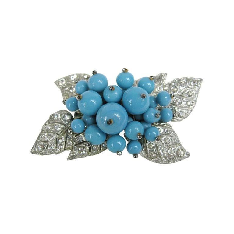 1940s Miriam Haskell Turquoise glass Brooch 1