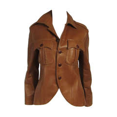 1990s Ralph Lauren Cropped Brown Lamb Leather Jacket