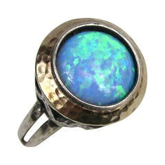 Sterling & Gold Opal Bezel Ring