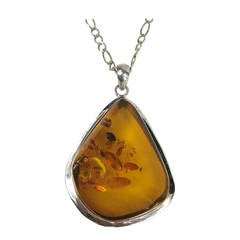 Massive Amber Sterling Silver Necklace Pendant