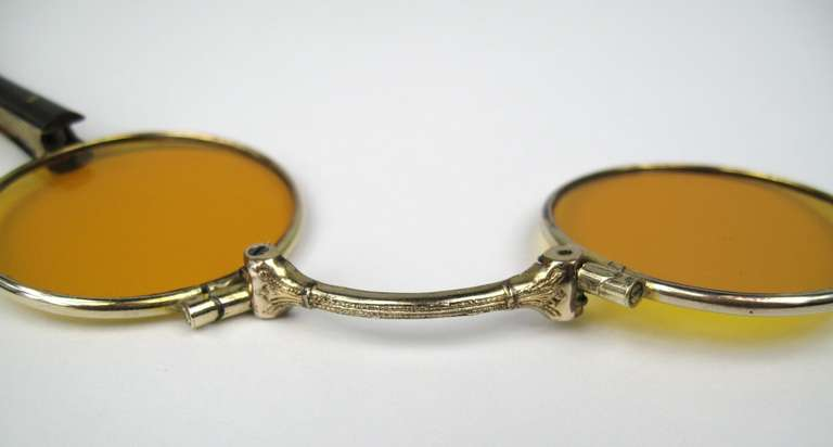 14k Gold lorgnette tortoise handle opera glasses In Excellent Condition For Sale In Wallkill, NY