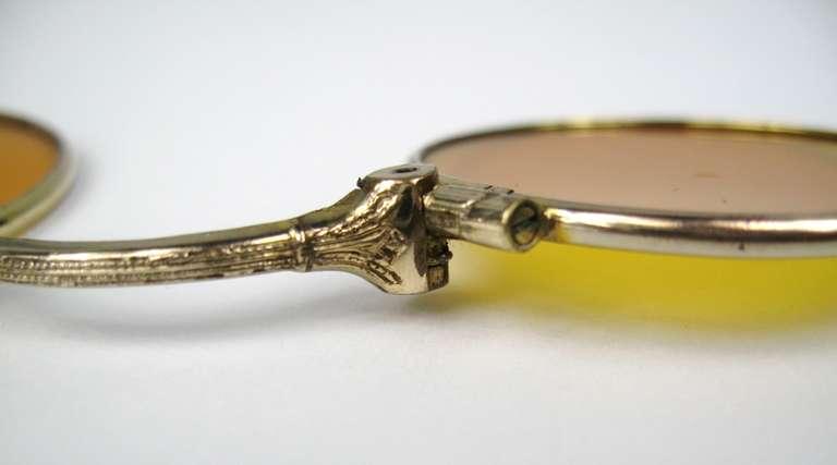 14k Gold lorgnette tortoise handle opera glasses 6