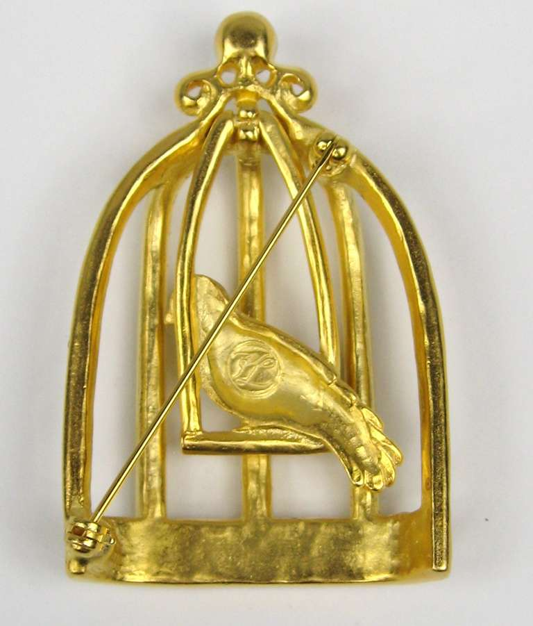 Karl Lagerfeld Gold Gilt Caged bird brooch pin New Never Worn 1900s  1