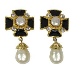 Yosca Gilt Gold Maltese Cross Earrings New Old Stock