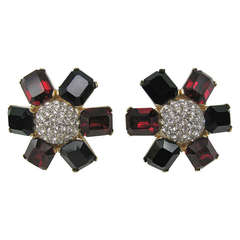 Ciner Red White and Blue swarovski Crystal Earrings New old stock
