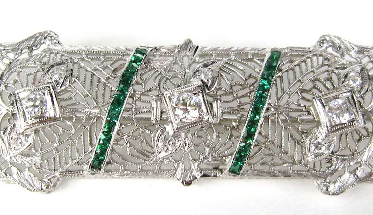Antique Platinum Art Deco Diamond 1920s Brooch Pin  2