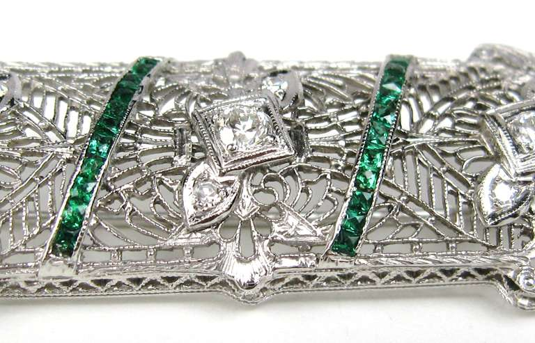 Antique Platinum Art Deco Diamond 1920s Brooch Pin  3