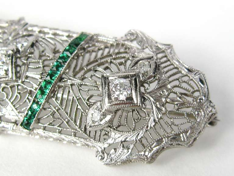 Antique Platinum Art Deco Diamond 1920s Brooch Pin  5