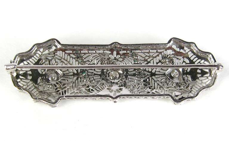 Antique Platinum Art Deco Diamond 1920s Brooch Pin  6