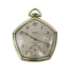 14K G.F. Open Face Pentagonal Gruen Pocket Watch