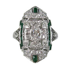 Platinum Art Deco Diamond 1920s Ring
