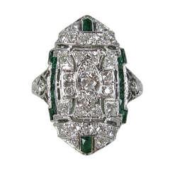 Antique Platinum Art Deco Diamond 1920s Ring
