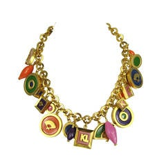 Vintage Karl Lagerfeld Enameled Charm Necklace 1980s New never worn
